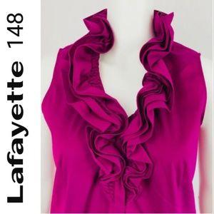Lafayette 148 Rosette Ruffled Neck Blouse  - Sz.10